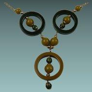 Beautiful Bakelite Ring Pendant Necklace