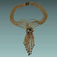 Spectacular Festoon Style Necklace with Dangling Chains