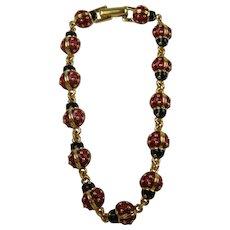 Signed JOAN RIVERS Lady Bug Link Bracelet