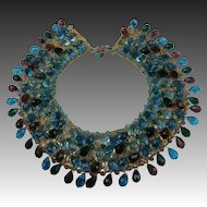 Amazing Crystal Collar Necklace on Gold Plated Mesh Background