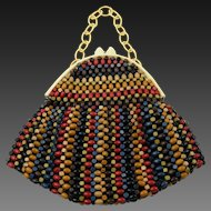 Rare 1930's Wood Bead Bag with Celluloid Handle