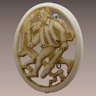1930's Molded Celluloid Man with Walking Stick Brooch