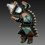 Sterling Kachina Knifewing Rainbow Man Brooch