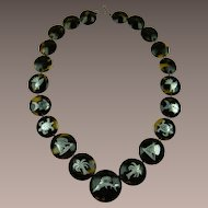 Victorian Revival Silver Inlay Necklace with Pique' Work
