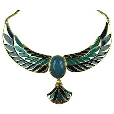 Franklin Mint Enameled Egyptian Revival Necklace with Scarab and Lotus Design