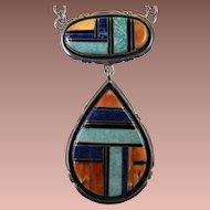 Native American Signed STERLING LS Gemstone Pendant Necklace