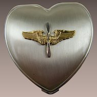 WW II Sweetheart Compact Army Air Corps Hinge Co Sterling