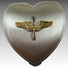 WW II Sweetheart Compact Army Air Corps Hinge Co Sterling