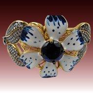 Signed STERLING 925 Enameled Clamper Bracelet with Pave' Stones