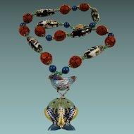 Stunning Chinese Import Cinnabar and Cloisonne' Necklace