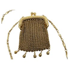 Whiting and David Mesh Purse Necklace with Original Tag