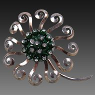 1940's Signed Nettie Rosenstein Sterling Silver Flower Fur Clip Huge!