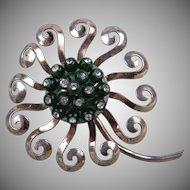 Rare 1940's Signed Nettie Rosenstein Sterling Silver Flower Fur Clip Huge!