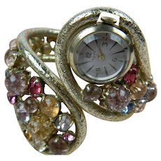 Rare 1960's Signed 17 Jewel PEDRE Watch and Rhinestone Clamper Bracelet - Red Tag Sale Item