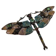Signed JOAN RIVERS Enormous Dragonfly Brooch