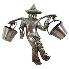Rare Sterling Silver Figural Brooch Water Carrier Signed Mexico