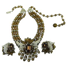 Miriam Haskell Beaded Necklace with Matching Earrings