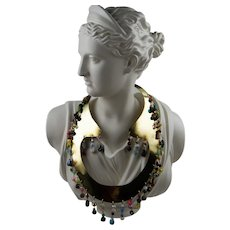 Vintage Artisan Brass Breastplate Pectoral Necklace with Glass Beads
