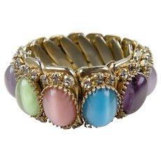 Colorful 1960's Bezel Set Cabochon Expandable Bracelet