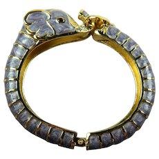 Enameled Elephant Clamper Bracelet