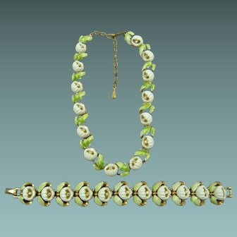Signed KRAMER Lily of the Valley Demi Parure Necklace and Bracelet