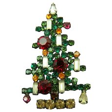 Iconic Signed WEISS 6 Candle Christmas Tree Brooch