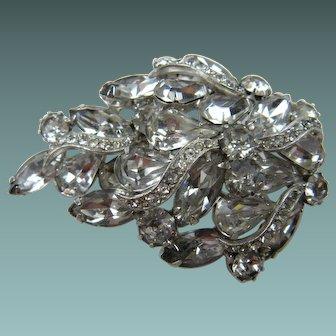 """Signed KRAMER Elegant Crystal Clear Rhinestone Brooch with """"Icing"""""""