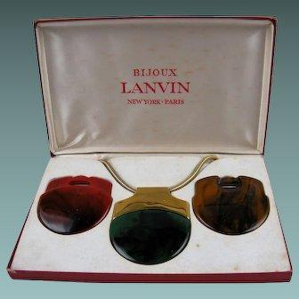 1970's Signed Bijoux LANVIN Interchangeable Pendant Necklace in Original Box