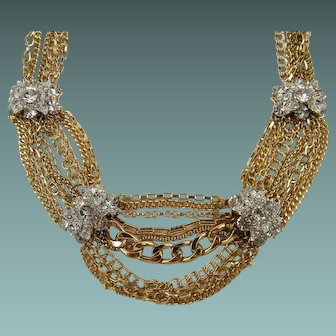 Multi Strand Gold Plated Chain Necklace with Clear Rhinestone Accents