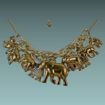 Signed Betsey Johnson Elephant Charm Necklace