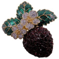 Vintage Strawberry Brooch with Blossoms