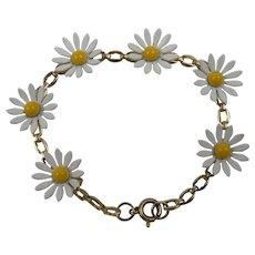 Demure Daisy Bracelet Enameled Flowers