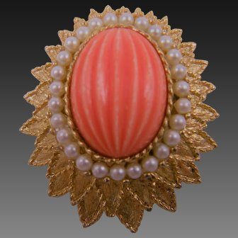 Signed Emmons Coral Cabochon Brooch