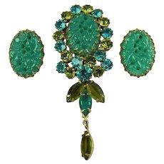 Stunning Imitation Jade and Rhinestone Brooch with Matching Earrings