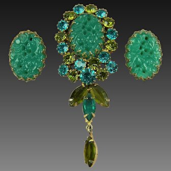 Stunning Imitation Jade and Rhinestone Brooch with Matching Earrings