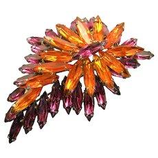 Gorgeous Navette Rhinestone Brooch Brilliant Colors!