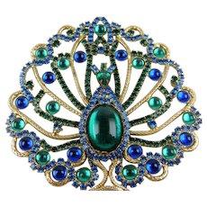 Huge Peacock Pendant with Jewel Tone Rhinestones