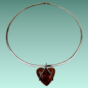 Puffy Amber Heart Pendant Necklace