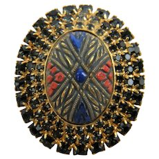 "Painted ""Mosaic"" Stone Brooch with Rhinestone Trim"
