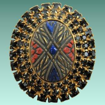 "Painted ""Mosaic"" Stone Brooch with Rhinestone Trim"