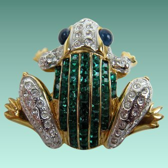 Fancy Frog Brooch with Lots of Sparkle