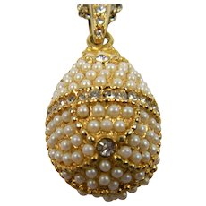Fabrege Style Egg Pendant with Extra Long Chain