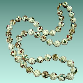 Extra Long Chinese Cloisonne Bead Necklace