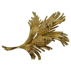 Signed MONET Gold Plated Pine Cone Brooch