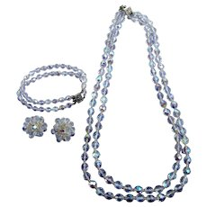 Iconic Crystal Beaded Parure Necklace, Earrings, and Bracelet