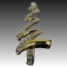 Signed MONET Christmas Tree Brooch