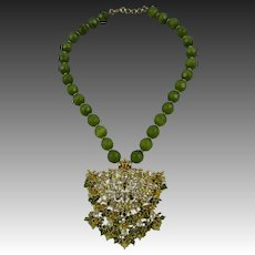 Dangling Peridot Green Crystal and Beaded Necklace