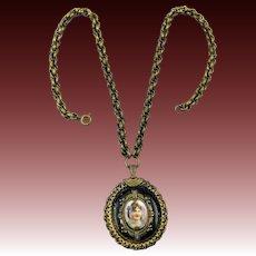 Victorian Revival Painted Portrait Necklace