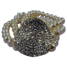 Triple Strand Imitation Pearl Bracelet with Pave' Rhinestone Disk