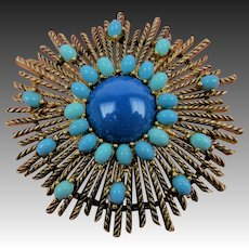 Huge 1960's Brooch with Imitation Turquoise Cabochons